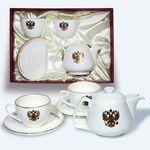 Подарочный набор из двух чайных пар и чайника, декор - герб РФ, от Bohemia