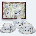 Подарочный набор из двух чайных пар и чайником с журавлями  от Bohemia