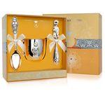 Набор детского серебра для мальчика в футляре от Argenta, 3 предмета (кружка, ложка, погремушка)